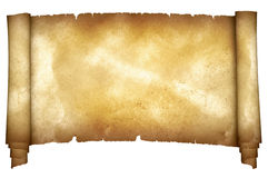 Medieval parchment on white background. Royalty Free Stock Photo