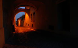Medieval passage in Sibiu city Royalty Free Stock Photo