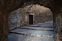 Medieval Passage with stairs in Old Jewish Quarter. City of Girona in Catalonia, Spain Royalty Free Stock Images