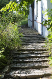 Medieval paved street in Sighisoara, Transylvania Royalty Free Stock Images
