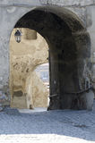 Medieval paved street in Sighisoara, Transylvania Stock Images