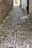 Medieval pavement. Medieval street of Erice town, Sicily, Italy Stock Photo