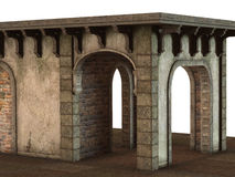 Medieval Pavilion Building rendered in 3D on a white background. Royalty Free Stock Photography