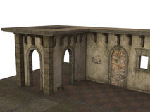 Medieval Pavilion Building on Stone Floor rendered in 3D on a white background. Stock Photography