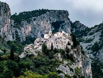 Medieval peillon village in the provence region of Nice stock images