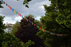 Medieval pennants flapping in the sky Stock Photo