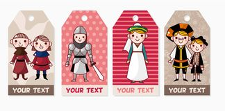 Medieval people card Stock Photo