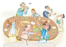 Medieval people eating watercolor illustration Royalty Free Stock Image