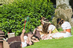 Medieval people resting Stock Photos