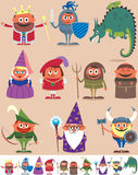 Medieval People. Set of 10 cartoon medieval characters. Below are the same characters customized for white background. No transparency and gradients used Stock Images