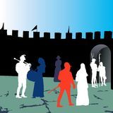 Medieval people silhouettes. Royalty Free Stock Photo