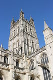 Medieval Perpendicular Gothic tower of Gloucester Cathedral Church Royalty Free Stock Images