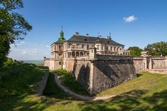 Medieval Pidhirtsi castle at sunny summer day in full view royalty free stock images
