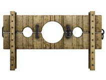 Medieval pillory punishment device Royalty Free Stock Photos