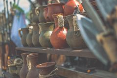 Medieval pitchers. The stall with medieval pitchers Stock Photography