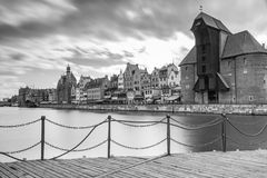 Medieval port crane over Motlawa river in Gdansk Royalty Free Stock Photos