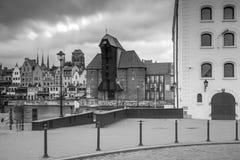 Medieval port crane over Motlawa river in Gdansk Royalty Free Stock Images