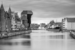 Medieval port crane over Motlawa river in Gdansk Stock Images