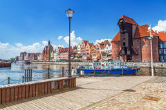 Medieval port crane over Motlawa river in Gdansk Stock Images