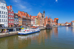 The medieval port crane over Motlawa river, Gdansk Stock Photos