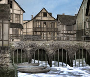 Medieval port. A 3D rendered image of a medieval town and port Royalty Free Stock Photos