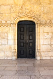 Medieval Portuguese Door Black Closeup Architectural Feature War Stock Photo