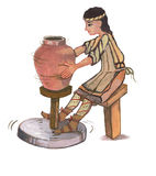 Medieval potter - hand drawn color illustration, part of medieval series set Stock Photo