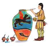 Medieval potter - hand drawn color illustration, part of medieval series set Royalty Free Stock Photos