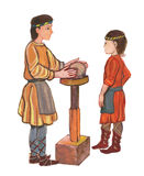 Medieval potter working with clay - hand drawn color illustration, part of medieval series set Royalty Free Stock Photo