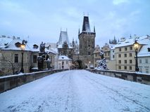 Medieval Prague. Beautiful view of Prague during the winter Stock Photos
