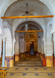 The medieval prayer hall. SOUSSE, TUNISIA - SEPTEMBER 6, 2015: The old stone prayer hall of the Grand Mosque, on September 6 in Sousse Stock Photography