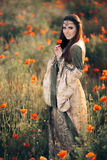 Medieval Princess in a Field of Poppies Royalty Free Stock Image