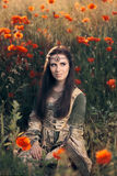 Medieval Princess in a Field of Poppies Royalty Free Stock Photo