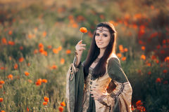 Medieval Princess in a Field of Poppies Royalty Free Stock Photography