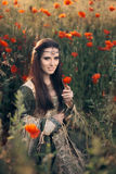Medieval Princess in a Field of Poppies Stock Image