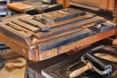 Medieval printing machine closeup Stock Image