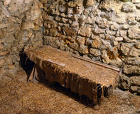 Medieval prison cell. Monte Sant'Angelo Castle stock photo
