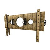 Medieval punishment device (perspective view). Illustration of a medieval pillory, perspective view. Isolated on white background Stock Image