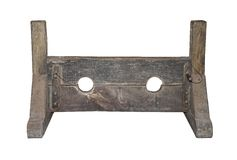 Medieval Punishment Stocks. A Wooden Set of Medieval Punishment Stocks Stock Image
