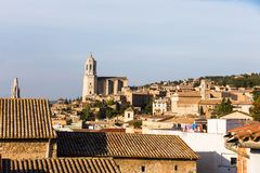The medieval quarter of Gerona.  Costa Brava, Catalonia, Spain. The medieval quarter of Gerona with bell tower of Santa Maria cathedral in background. View from Stock Images