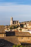 The medieval quarter of Gerona.  Costa Brava, Catalonia, Spain. The medieval quarter of Gerona with bell tower of Santa Maria cathedral in background. View from Stock Photography