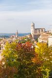 The medieval quarter of Gerona.  Costa Brava, Catalonia, Spain. The medieval quarter of Gerona with bell tower of Santa Maria cathedral in background. View from Royalty Free Stock Photo