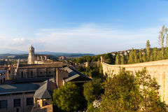 The medieval quarter of Gerona.  Costa Brava, Catalonia, Spain. The medieval quarter of Gerona with bell tower of Santa Maria cathedral in background. View from Stock Photo