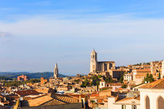 The medieval quarter of Gerona.  Costa Brava, Catalonia, Spain. The medieval quarter of Gerona with bell tower of Santa Maria cathedral in background. View from Royalty Free Stock Photos