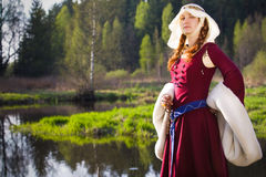 Medieval Queen. Beautiful Medieval Queen outdoors portrait Stock Photos