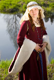 Medieval Queen outdoors portrait Royalty Free Stock Image