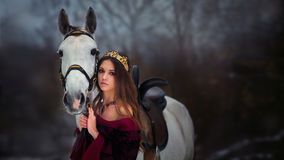 Medieval Queen portrait. Medieval Queen on white horse at twilight winter forest Royalty Free Stock Photo