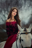 Medieval Queen portrait. Medieval Queen on white horse at twilight winter forest Royalty Free Stock Image