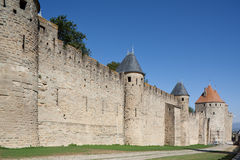 Medieval rampart of Carcassonne (France). Restored by the architect Viollet le Duc Royalty Free Stock Images