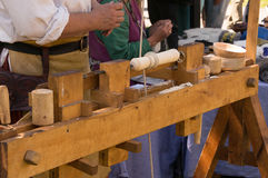 Medieval reenactment wood lathe Royalty Free Stock Photos